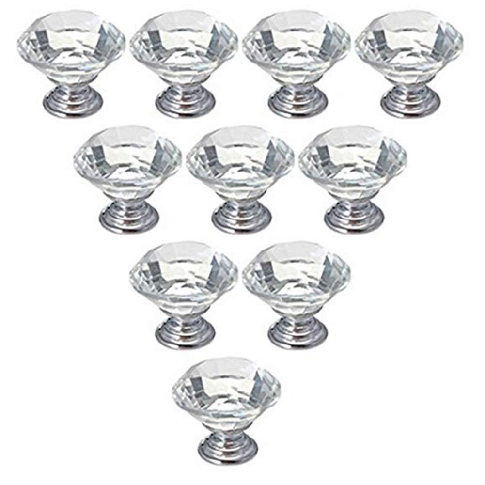 6 PCS 30MM Durable Cristal Boutons Cabinet Dresser Forme de Diamant Poign/ées Porte tiroir Tirer en Verre Transparent Boutons Cabinet Produits pour Maison//Cuisine