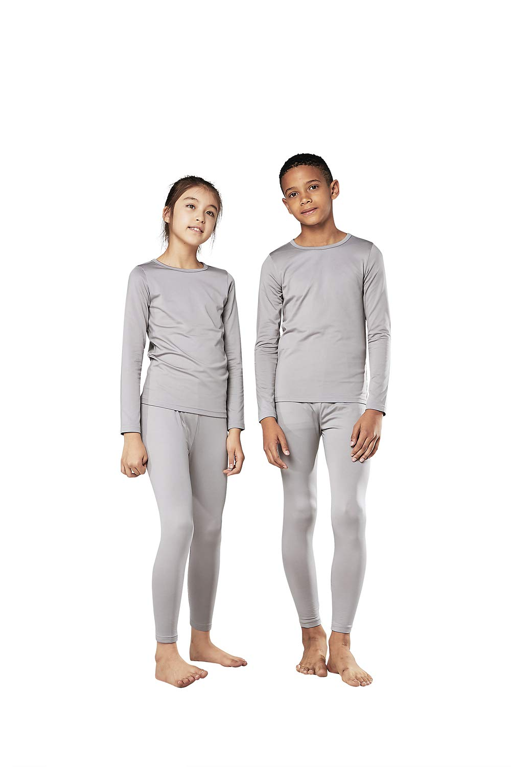 DEVOPS Boys & Girls Thermal Heat-Chain Microfiber Fleece Underwear Baselayer Top & Bottom (Long Johns) Set (Medium, Light Grey) by DEVOPS