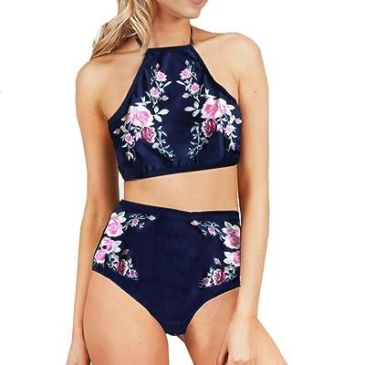 2018 femmes bikini de mode, BZLine Ladies Fashion Print maillot de bain-Push-Up rembourré soutien-gorge, taille haute bande et boucle