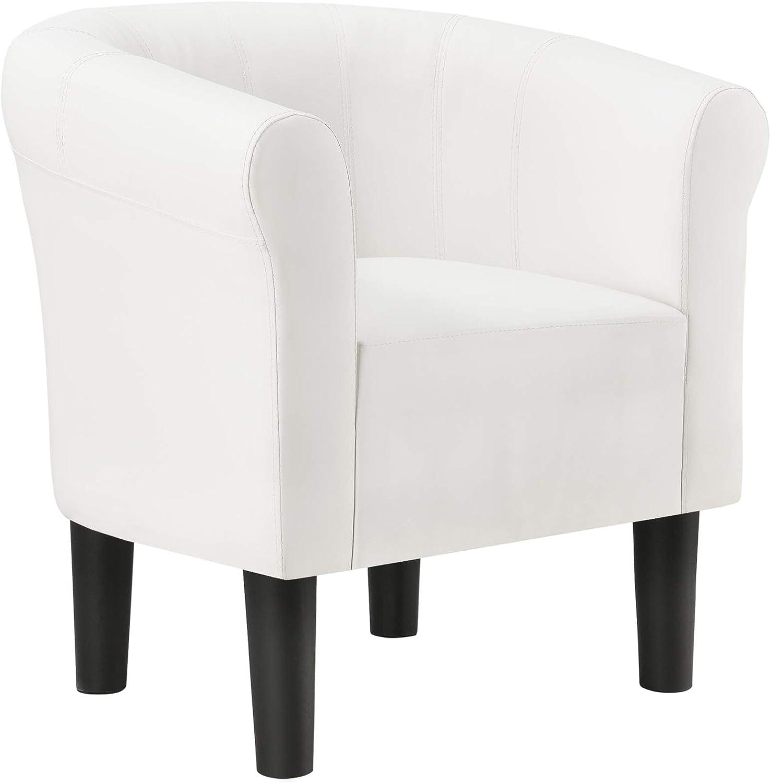 [en.casa] Sillón Relax Elegante Butaca 70x70x58 cm Asiento cómodo de Piel sintética Blanco