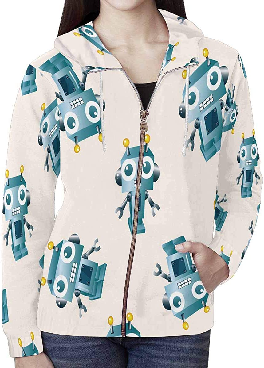 INTERESTPRINT Funny Number Chart with Cartoon Design for Kids Long-Sleeve All Over Print Mens Hoodie