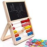 jerryvon Ábaco Infantil Montessori de Madera, Puzzle Infantil Magnético Tablero de Doble Cara con Numero y Tangram…