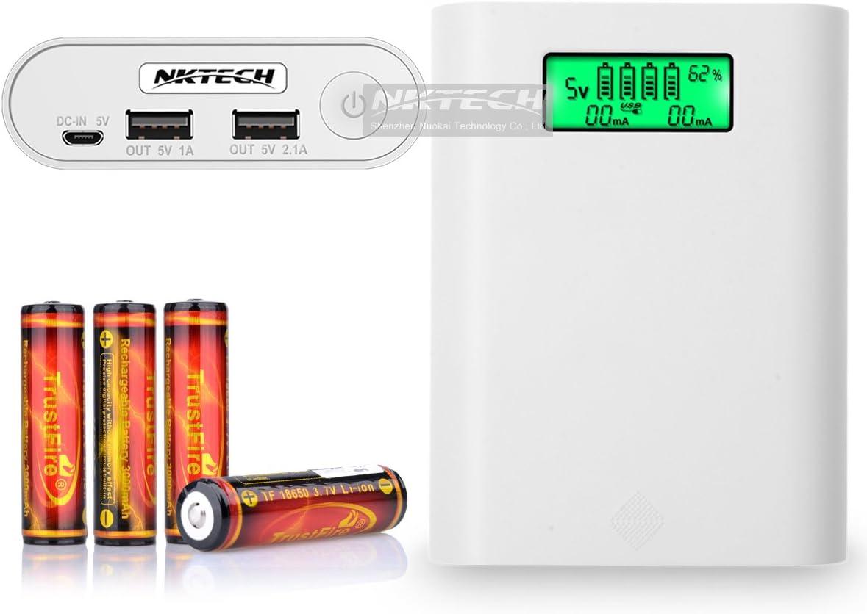 nktech e3s LCD externa Power Bank 18650 caja de batería USB cargador soporte para iPhone Samsung Huawei Sony HTC Android teléfono celular de software White + 4X TrustFire 18650 3000mAh Battery: Amazon.es: Electrónica