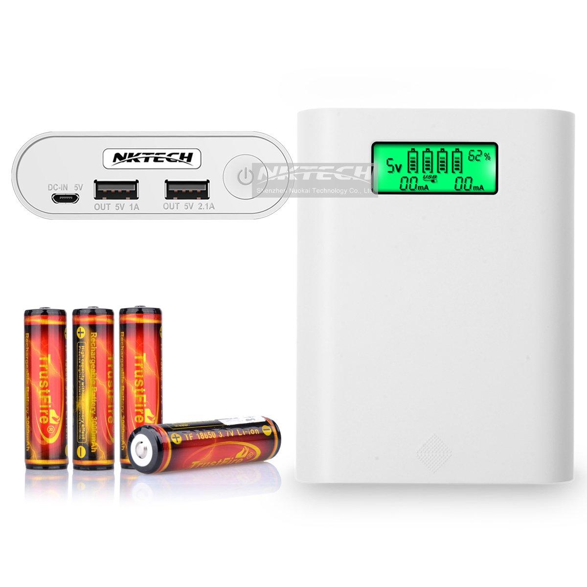 nktech e3s LCD externa Power Bank 18650 caja de batería USB ...