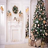 Green Christmas Tree Photo Backgrounds Wrinkle free White Fireplace Cute Rabbit Gift Photography Backdrops for Child (10x10ft)