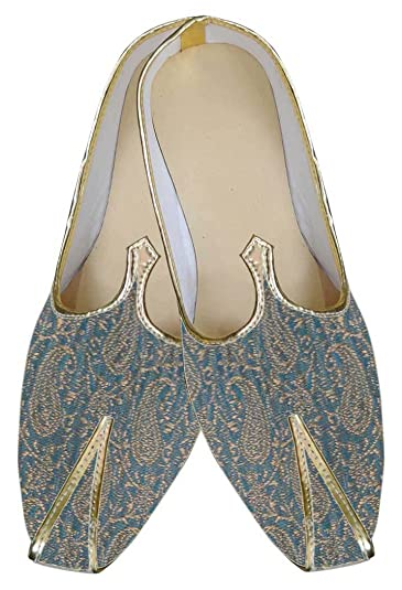 Mens Teal Brocade Shoe Paisley Pattern MJ0007