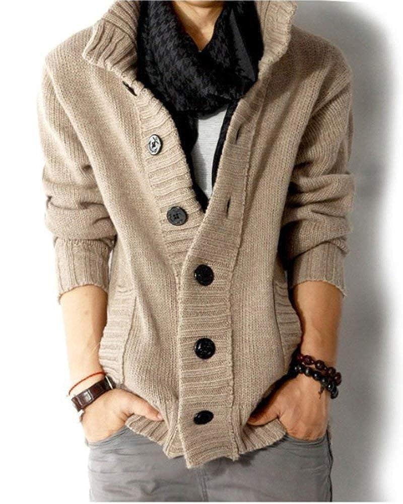 Cardigan Men Chunky Knitwear Sweatshirt Invierno Solid Otoño ...
