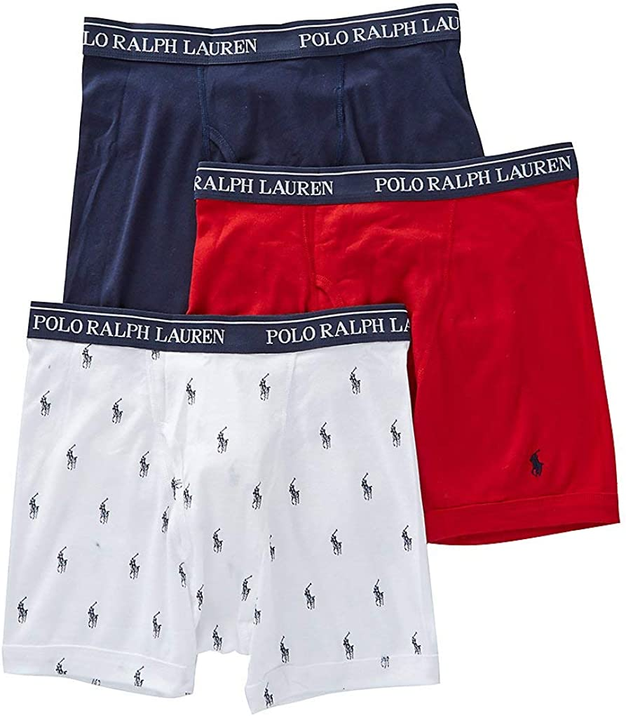Polo Ralph Lauren Classic Fit w/Wicking 3-Pack Boxer Briefs White/Cruise Navy Aopp/Cruise Navy/Rl2000 Red LG