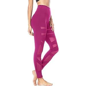 8d0e8e53f0 Queenie Ke Women Mesh Leggings High Waist Gym Yoga Tights Running Pants