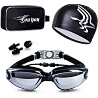 Swim Goggles and Cap Set 4 in 1, UV 400 Protection Lenses Clear Anti-Fog Swimming Goggles Waterproof No Leaking with…