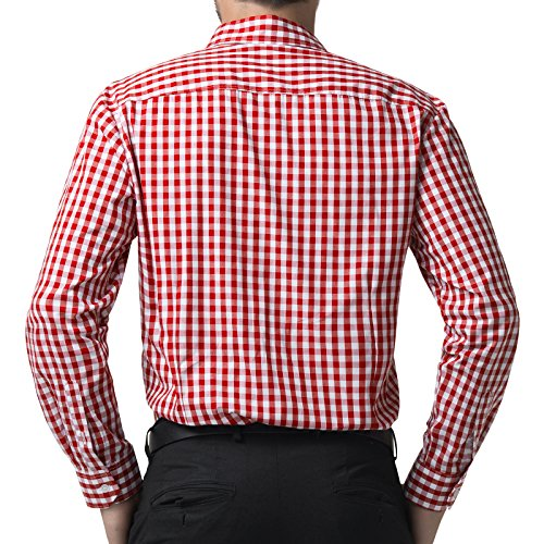 Men's Business Casual Red Plaid Shirt Button Down Shirt (XL) KL-3 by Paul Jones®Men's Shirt (Image #1)