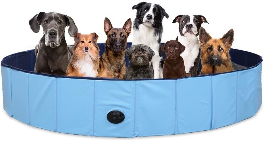 SURPCOS Foldable Dog Swimming Pool, New Upgraded Collapsible Pet Bath Pool for Dogs Cats and Children Indoor & Outdoor