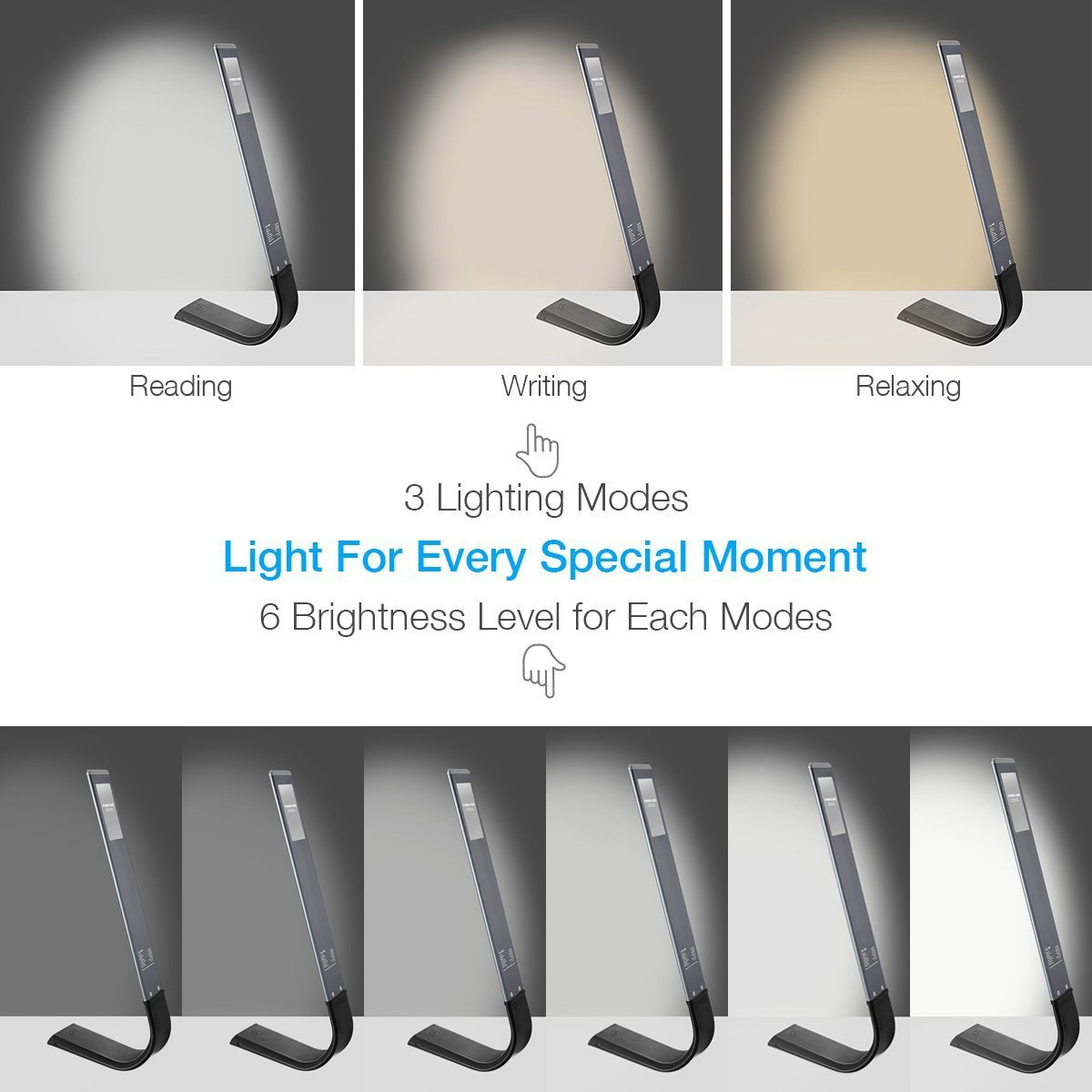 Poweradd Schreibtischlampe beugbar LED Tischleuchte mit dimmbar Touchfeldbedienung