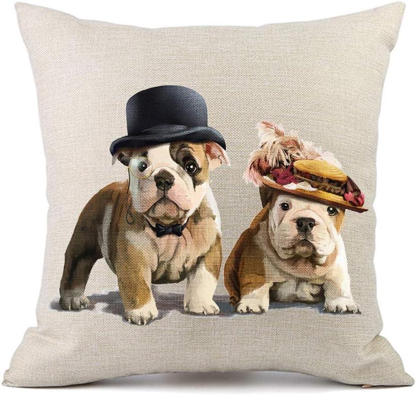 Moyun Linda Mascota Bulldog Perro Cojines Cubre algodón Lino Throw Funda de Almohada sofá del Coche decoración para el hogar 45x45 cm