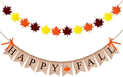 Thanksgiving Fall Leaves Banner