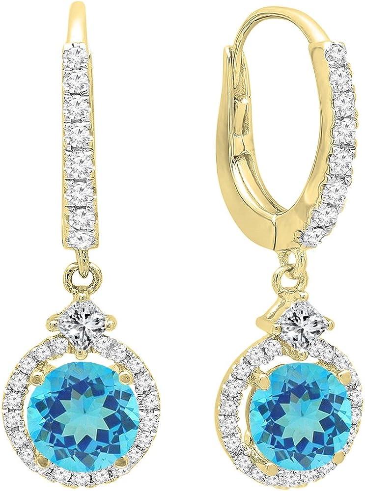 14K Amarillo Oro 5.5mm cada Gemstone y Diamond pendientes de gota