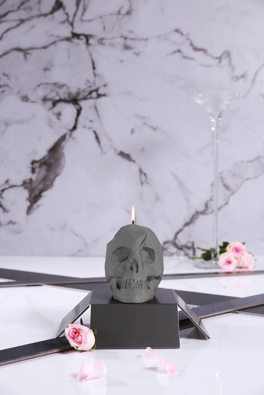 Skull Poly Candle-Gray Matt Candellana Candles Candellana