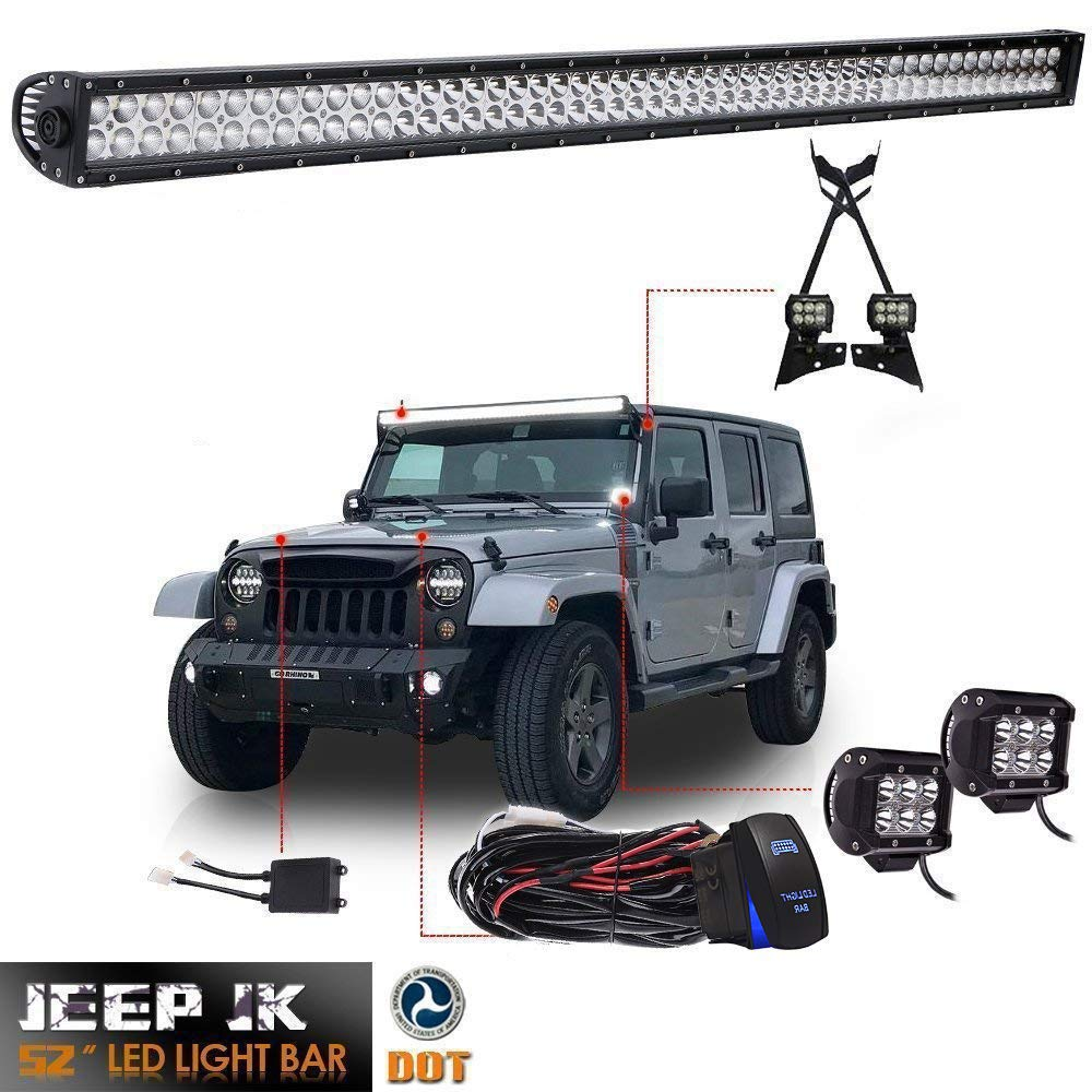 Dot 52inch Led Light Bar Offroad Work Lights 2pc 4 Ww Stock Trailer Wiring Harness For Pods Cube Fog Upper Roof Windshield Lower Corner A Pillar Hinge Mounting