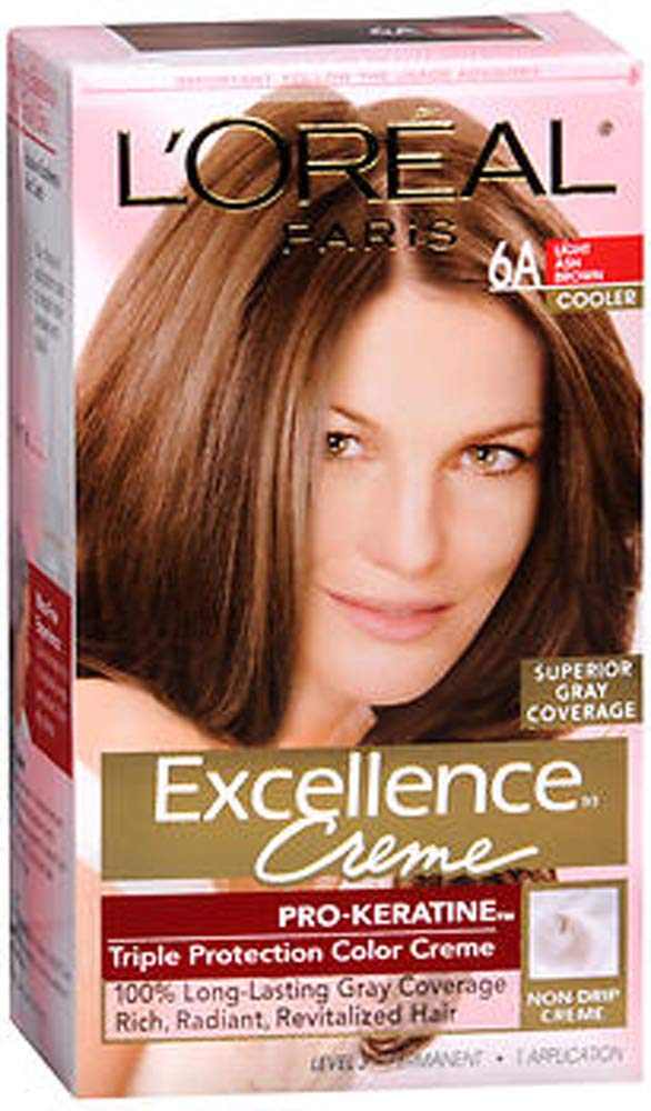 L'Oreal Paris Excellence Creme Haircolor, Light Ash Brown [6A] 1ea (Pack of 2)