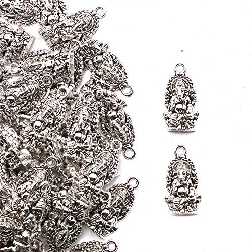 JETEHO 60pcs Ganesha Charms Elephant Buddha Charms for Jewelry Making Bracelet