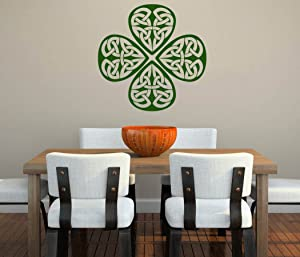 """Shamrock Celtic Design Ireland Pride - Peel and Stick - Removable Wall Decal - 22"""" x 22"""""""