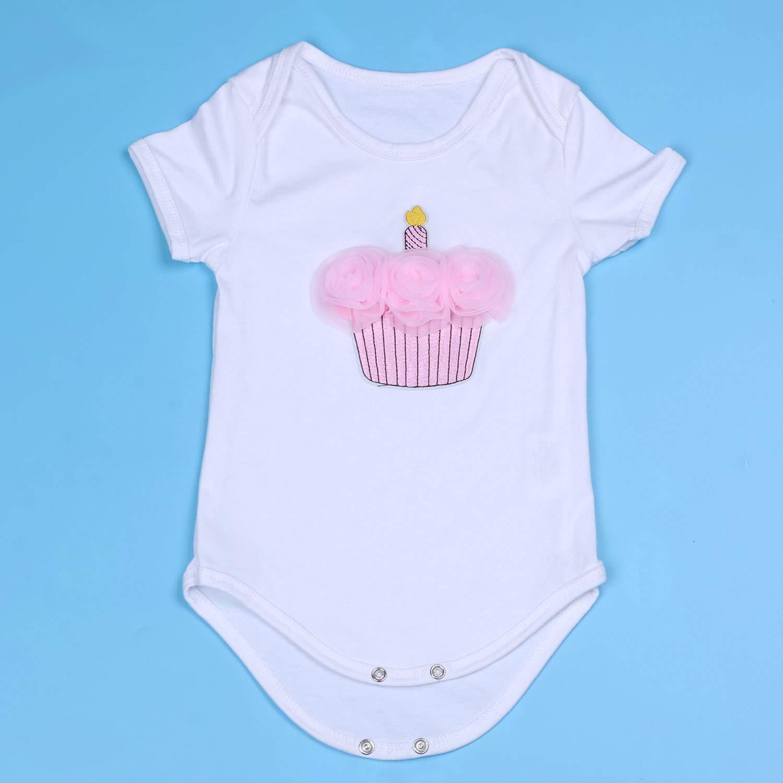 Romper Tutu Dress Headband 3Pcs BabyPreg Baby Girls 1st Birthday Outfit
