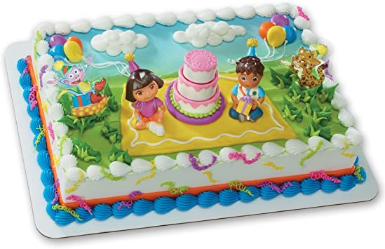 Stupendous Amazon Com Dora The Explorer Birthday Celebration Decoset Cake Funny Birthday Cards Online Alyptdamsfinfo