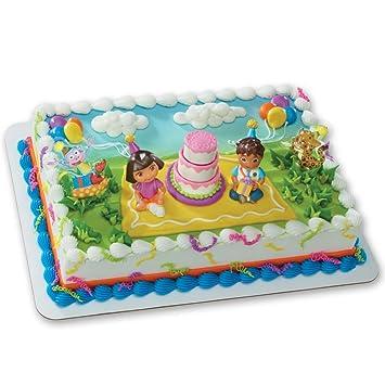 Amazon Com Dora The Explorer Birthday Celebration Decoset Cake