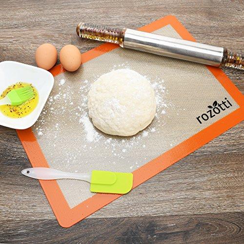 Rozotti Silicone Baking Mat Bundle (6-Piece Set) 2 Half Sheets Silicone Baking Mat and 2 Quarter Sheets Silicone Baking Mat, Silicone Baking Brush, Silicone Baking Spatula | Non-Stick, Heat-Resistant by Rozotti Silicone Baking Mat (Image #5)