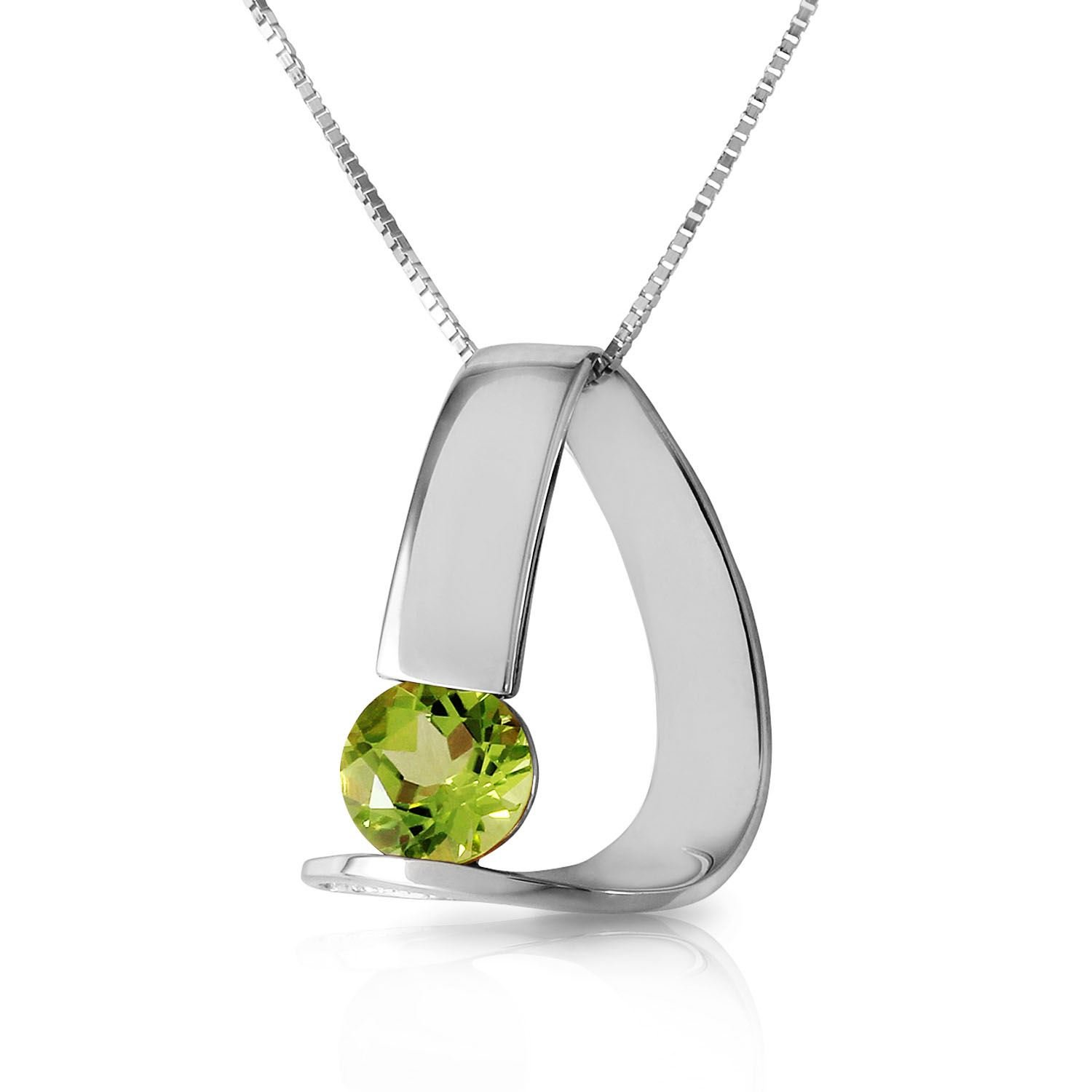ALARRI 14K Solid White Gold Modern Necklace w/ Natural Peridot with 18 Inch Chain Length