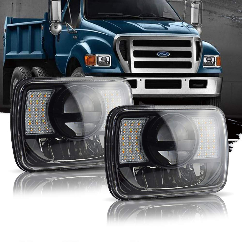 T-Former DOT 5X7 7X6 Hi/Lo Sealed Beam LED Headlamp w/DRL Amber Turn Signal Replace Hid Xenon Halogen H6054 Headlights for Jeep Wrangler Cherokee XJ YJ Ford F250 E350 Chevy Corvette Dodge Ram VGS-F030BA2-2P-5X7