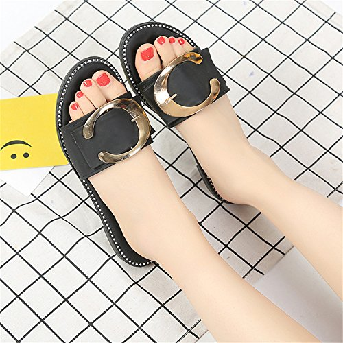 Good Night Women's Summer Slippers Comfort Casual Fashion Metal Buckle Flats Beach Shoes Black 0b1bPaVT