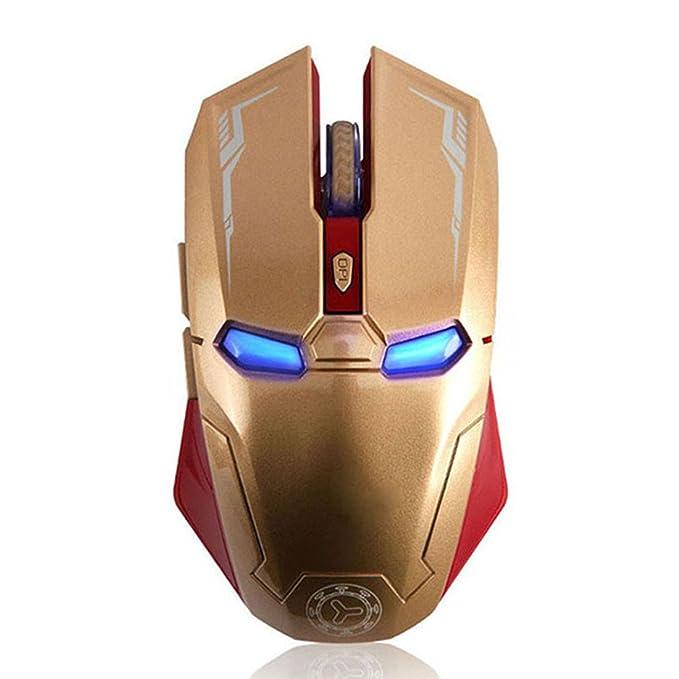 Taonology Ratón inalámbrico Iron Man USB Ratón inalámbrico para juego óptico con botón Silent Mute Click Micro Switches Ajustable para PC y Mac 2.4G ...