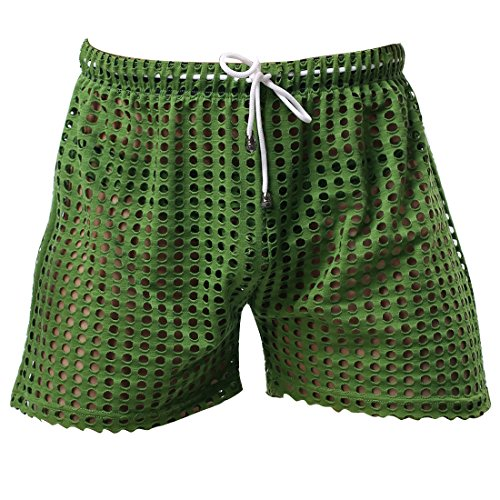 FEESHOW Men's See-Through Mesh Loose Shorts Lounge Underwear Cover up Boxer Trunks Green Hollow L