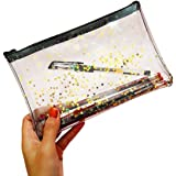 WODISON Zipper Clear Star Cosmetic Case Pouch Pencil Pen Bag Holder