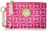 Tommy Hilfiger TH Signature Purse with ID Coin Purse, Raspberry/White, One Size