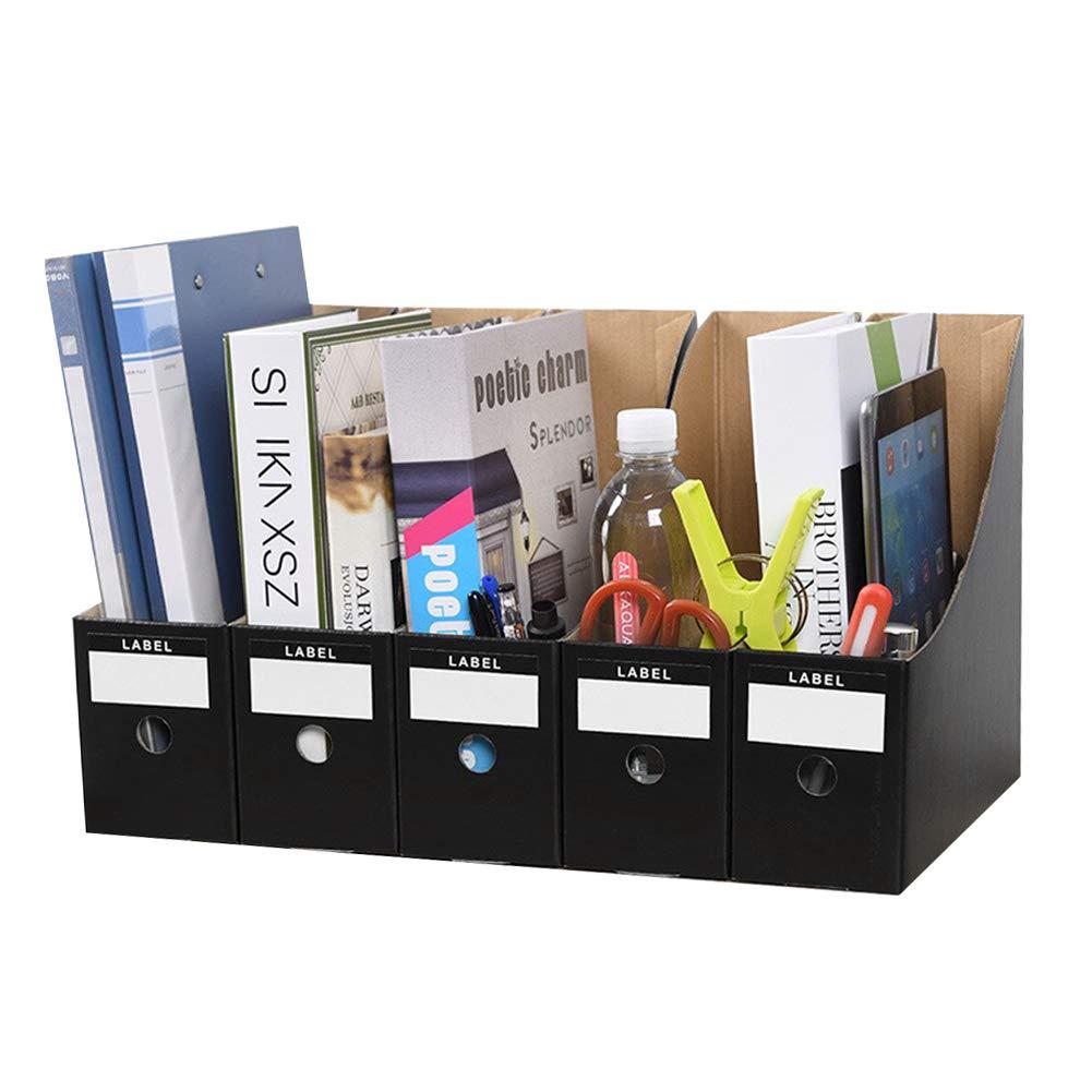5 Pack Marble File Magazine Holder Waterproof Cardboard File Rack Storage Organizer Box Desktop Standing Collector Document File Divider Sorter Shelf Paperwork Organiser for School Office Home Library