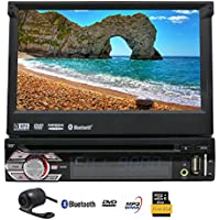 EinCar 7 Touch Screen Car Stereo with GPS Navigation In Dash Bluetooth Single 1 Din DVD CD Receiver AM FM Radio Audio System with Remote Control/8GB Map Card/Backup Camera