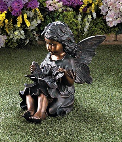 GHP Outdoor Garden Yard Art Decor 17''x9''x17'' Flower Fairy Statue by Globe Warehouse