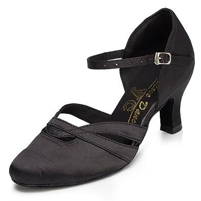 Meijili Women's Shoes Salsa Tango Modern Ballrom Latin Dance Shoes Black UK 4 qkjnN9sK