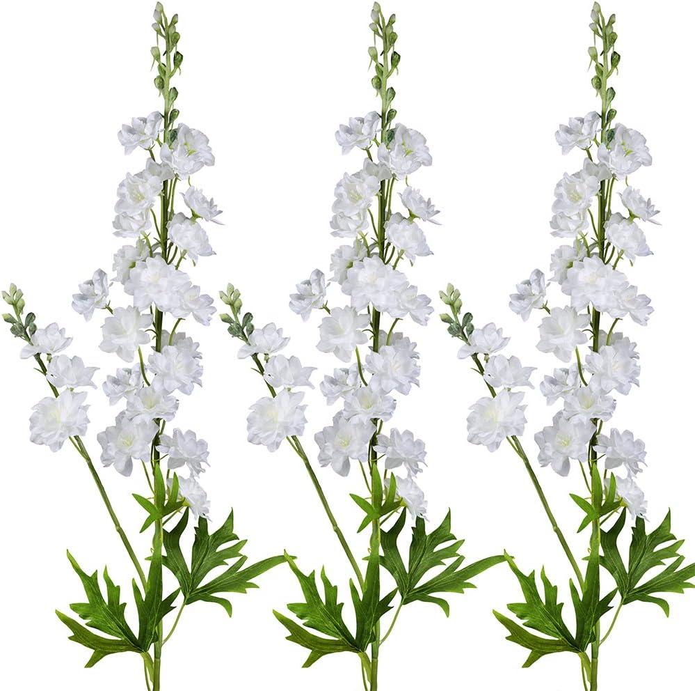 """3 Pcs White Delphinium Artificial Flowers Wedding Flowers Bouquet White Blossoms Flowers Stems Silk Garden Larkspur Plant Spray 33"""" Tall for Vase Floral Arrangement Table Centerpiece Decor"""