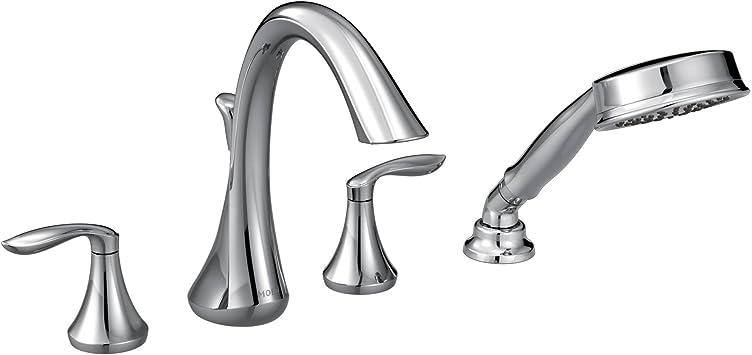 moen t944 eva two handle deck mount roman tub faucet trim kit with single function handshower valve required chrome
