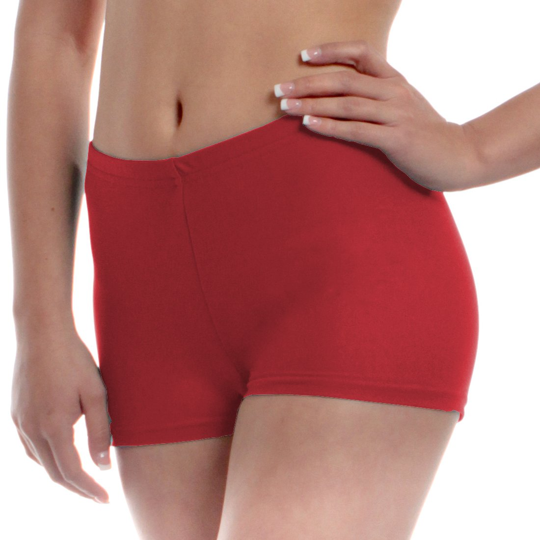 Mens Long Dance Shorts Extra Small Red by B Dancewear Adult Sizes by Bailar Dancewear