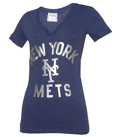 MLB New York Mets Womens Pink Victoria s Secret V-Neck T Shirt Large Dark  Blue 1a71e94525
