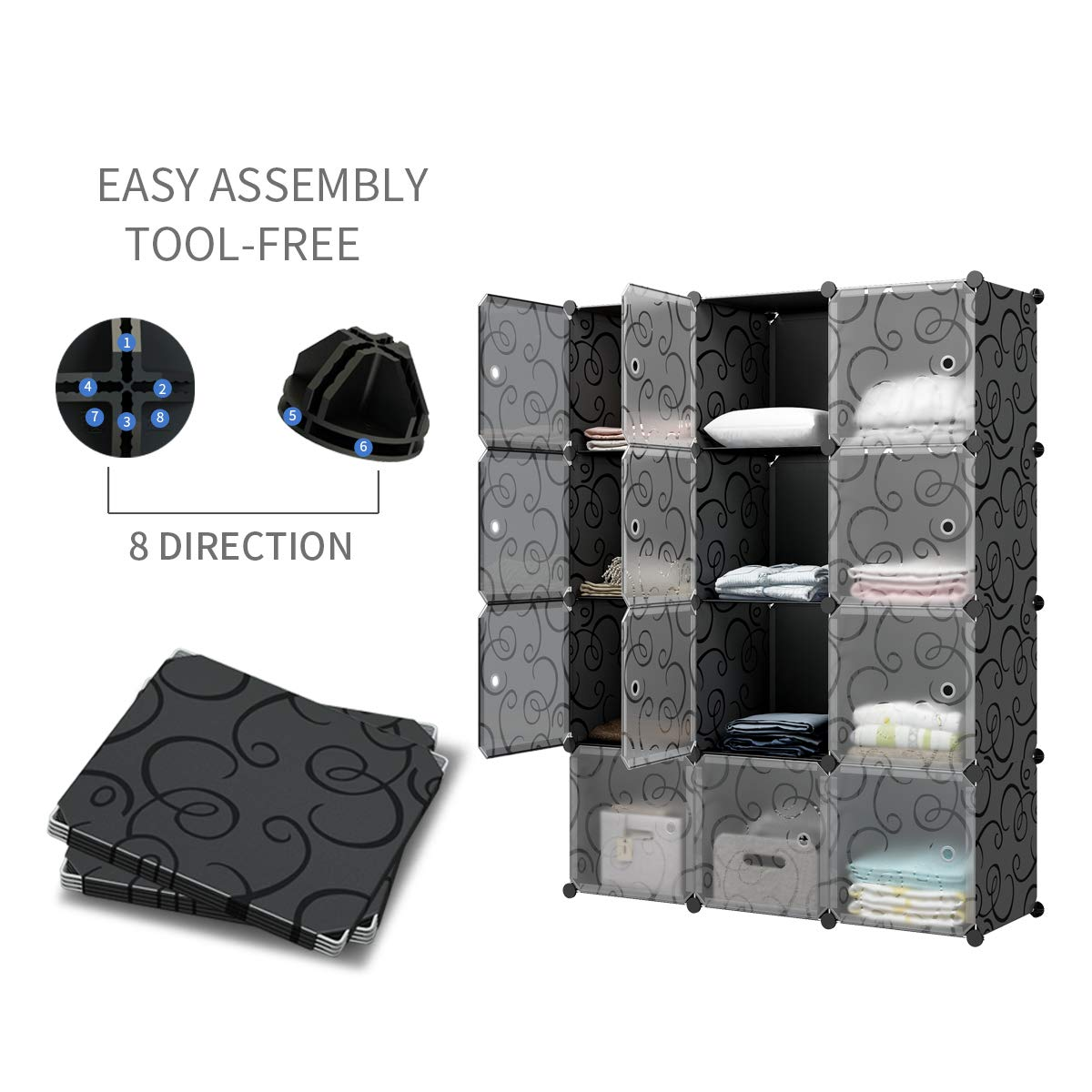 KOUSI Portable Storage Cube Cube Organizer Cube Storage Shelves Cube Shelf Room Organizer Clothes Storage Cubby Shelving Bookshelf Toy Organizer Cabinet, Black, 12 Cubes by KOUSI (Image #5)