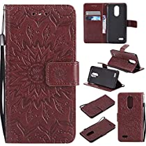 K8 2017 Case, Aristo Case, Phoenix 3 Cover, Dfly-US Embossed Mandala Design Soft PU Leather with Kickstand Flip Card Slots Slim Protective Wallet Cover for LG K8 2017 / Aristo / Phoenix 3, Brown