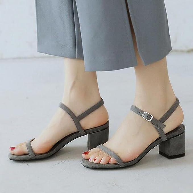 MUMA Escarpin Sandales d'été femmes milieu avec 2018 nouveau noir gris rose nu mots sauvages talons hauts romain épais talon chaussures pour femmes ( Couleur : Noir , taille : EU36/UK3.5/CN35 )