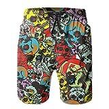Men's Sugar Skull Candy Swim Trunks Beach Elastic Shorts Cotton Pocket Loose Shorts