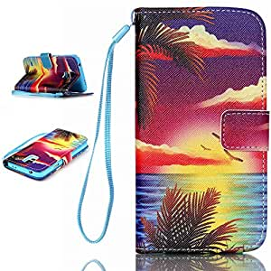 Samsung Galaxy S5 i9600 Wallet Case,Topforcity® Sea sky pattern Wallet Beautiful Style Magnetic PU Leather Stand Flip Case With rope Protective Cover For Samsung Galaxy S5 i9600