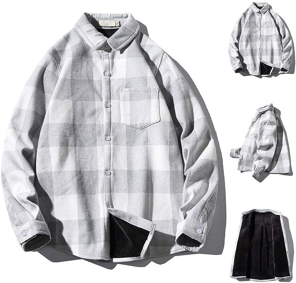Camisas A Cuadros Manga Larga Hombre, Camisas de Franela de Blusa con Warm Forro con Terciopelo y Cuello Redondo y Bolsillo con Botones de Manga Larga Shirt Slim Fit para Hombres: Amazon.es:
